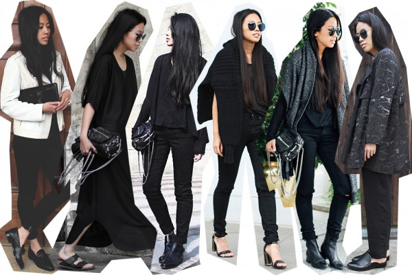IHEARTALICE.DE – Fashion & Travel Blog: All Black Everything Look wearing Alexander Wang Brenda Bag, Alexander Wang Scarf, Acne Studios Skinny Jeans, Prada Shades, Kat Maconie Sling High-Heels, Alexander Wang Kori Boots