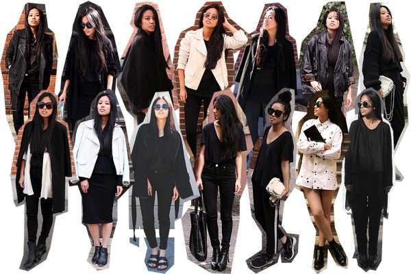 IHEARTALICE.DE – Fashion & Travel Blog: All Black Everything Look wearing Sandro White Leatherjacket, Nike Roshe-run, Skinny Jeans, Prada Shades, V-Neck TShirt