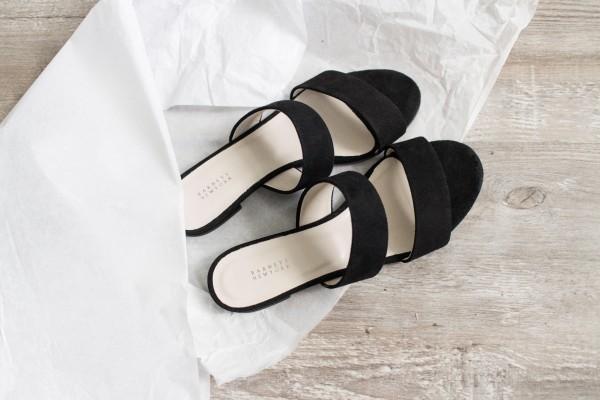 LA Shopping Haul: Barneys New York: Black Suede Double-Band Slides