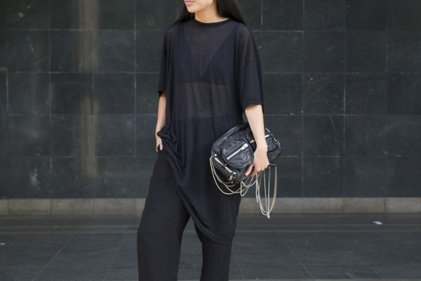 I heart Alice / Looks of Alice: OAK NY T-shirt, COS SIlk Pants, Barneys New York Slip on, Alexander Wang Brenda Bag