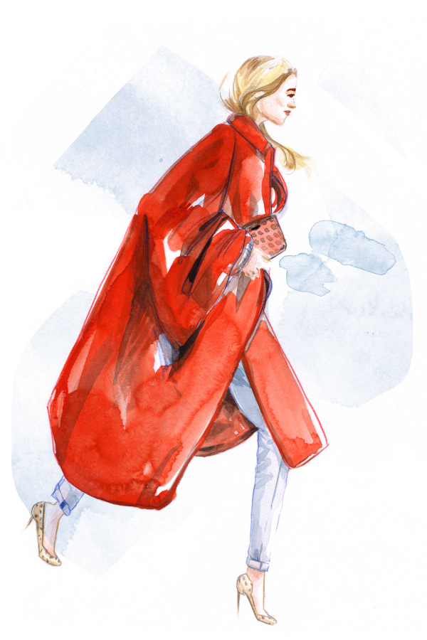 IHEARTALICE.DE - Travel, Lifestyle & Fashion-Blog from Berlin/Germany by Alice M. Huynh: Streetstyle Fashion Illustrations by Aivy Pham / Youtube Video / BUN BAO CHANNEL / Poppy Delevigne wearing a red coat, skinny jeans