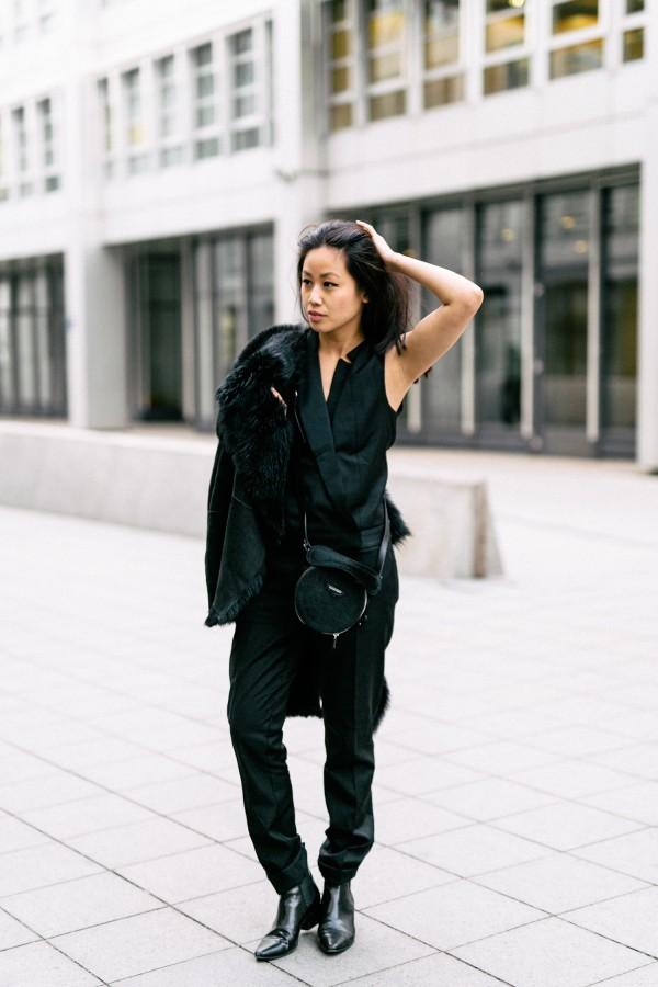 Black Tuxedo Jumpsuit by Comptoir des Cotonniers