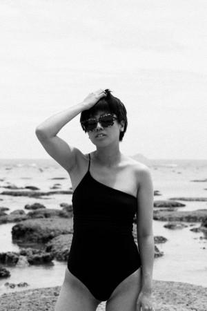 One-Shoulder Swimsuit & Ayurganic Bathrobe