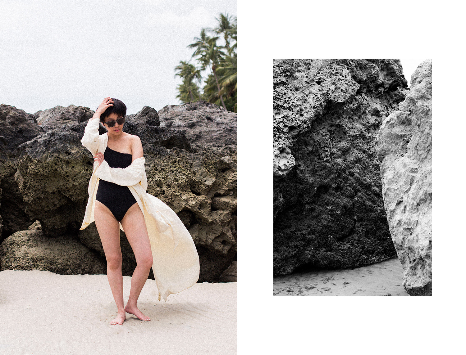 One-Shoulder Swimsuit & Ayurganic Bathrobe