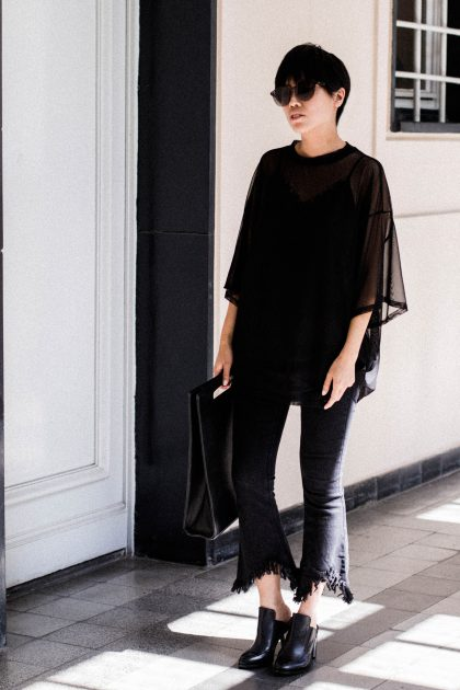 Fringed flared jeans / all black everything look by Alice M. Huynh / IheartAlice.com