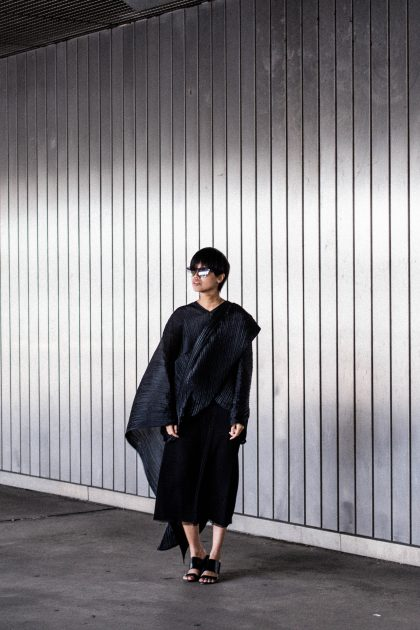 Pleats Please by Issey Miyake / Asymmetric Draped Tunic - All Black everything look by IheartAlice.com