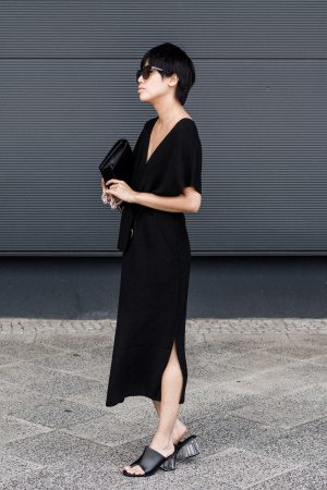 V-neck Summer Dress / All Black Everything Look by IheartAlice.com