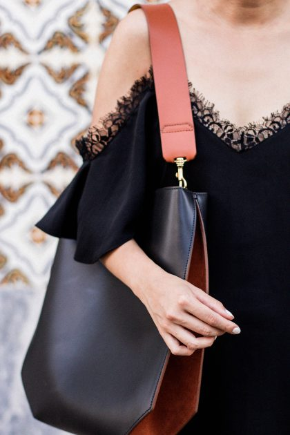 Off Shoulder Lace Dress in Portugal / All-black-Everything Look by IheartAlice.com