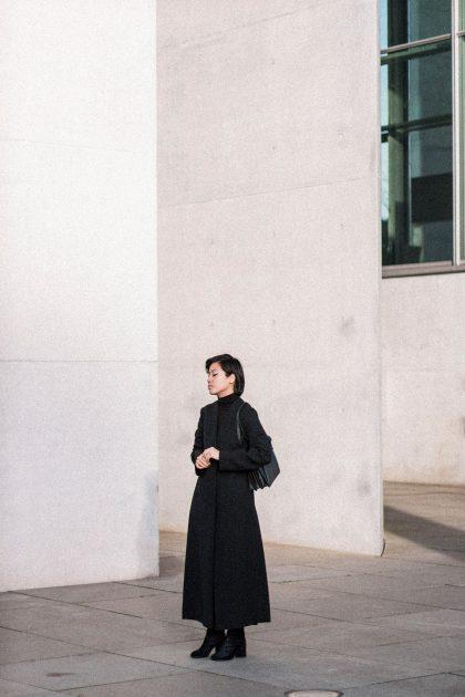 Marni Split Coat & Margiela Tabi Boots - All black Everything Look / IheartAlice.com