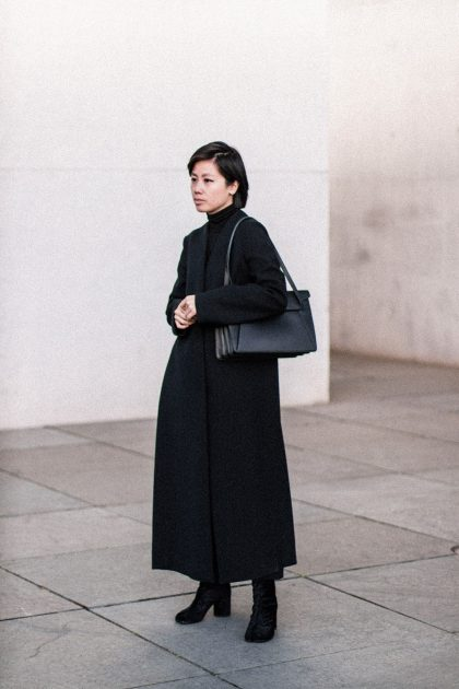 Marni Split Coat & Margiela Tabi Boots - All black Everything Look / IheartAlice.com