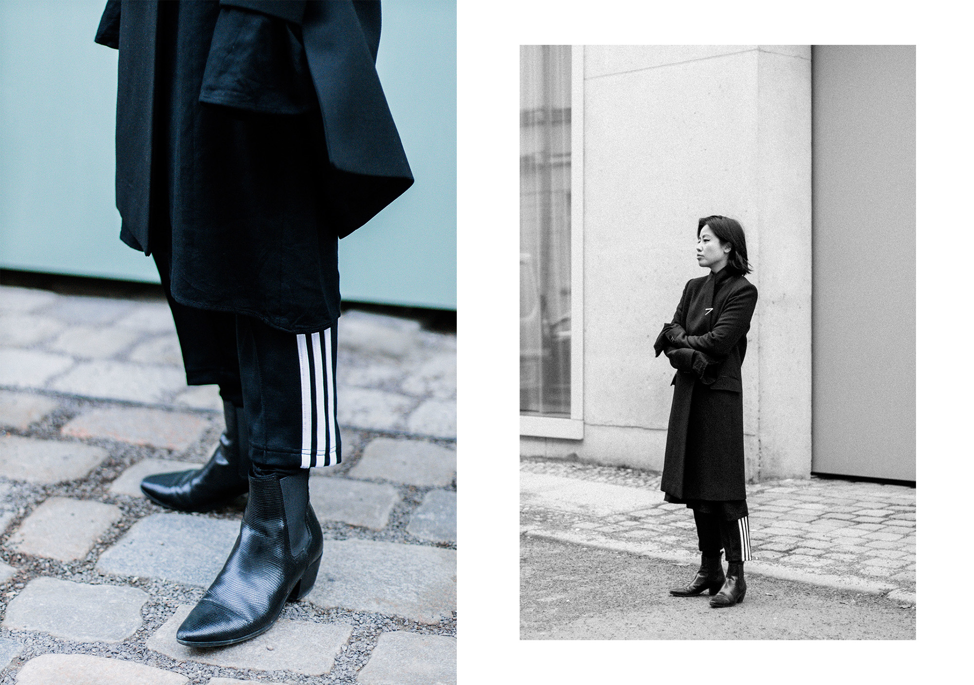 Athleisure Chic: Adidas Originals Trackpants, Pallas Endor Coat, Saint Laurent Boots - All Black Everything by Alice M. Huynh / IheartAlice.com
