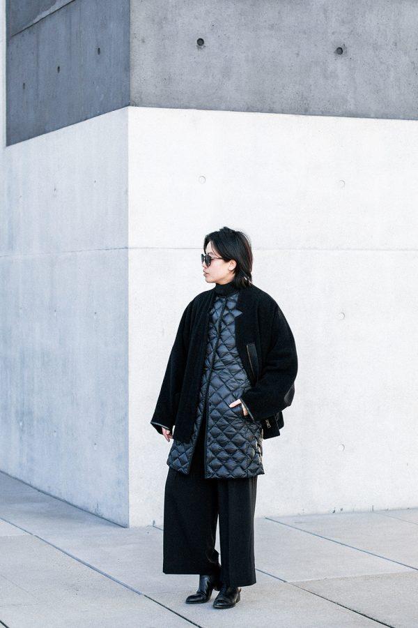 UNIQLO Ultra Light Down Coat, Acne Studios Coat, Samsoe&Samsoe Pants, Alexander Wang Boots - All Black Everything Looks by IheartAlice.com