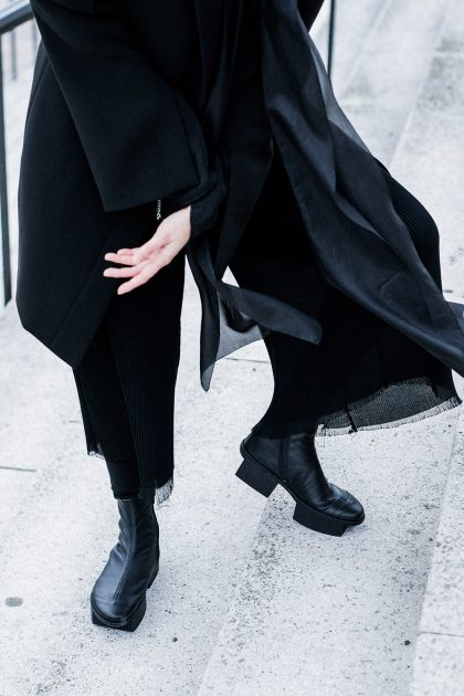 Androgynous Avantgarde - Trippen Geta Leather Shoes, Iris+Ink Blazer, Silk Blouse - All Black Everything by IheartAlice.com