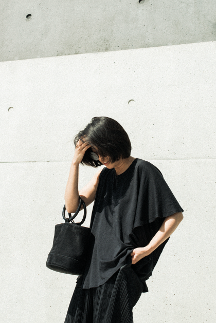Simon Miller Bonsai Bag, Issey Miyake Pleats Please, MM6 Shirt - All Black Everything OOTD by IheartAlice.com