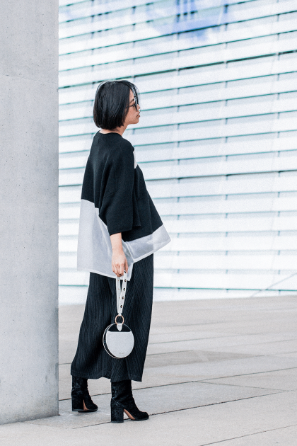 Public School Lati Sweater & Diana von Fuerstenberg Studded Circle Wristlet / All Black and White Look by Alice M. Huynh - Travel, Lifestyle & Luxury Style Blog / IheartAlice.com