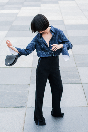 Victoria, Victoria Beckham Wide-Leg Tuxedo Pants & Silk Blouse / IheartAlice.com - Travel & Styleblog