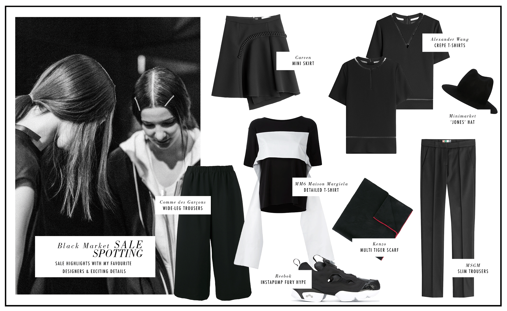 SALE Cravings: MM6 Maison Margiela, Comme des Garcons, Kenzo, Minimarket, Alexander Wang, MSMG, Carven / Sale Highlights - all black everything / iHeartAlice.com