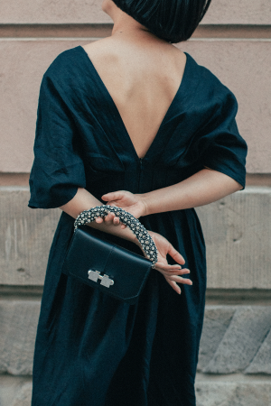 Carven Mini Full Joy Leather Bag + Subtle&Simple Linen Gown - All Black Everything Wedding Guest Attire / iHeartAlice.com - Travel & Lifestyleblog