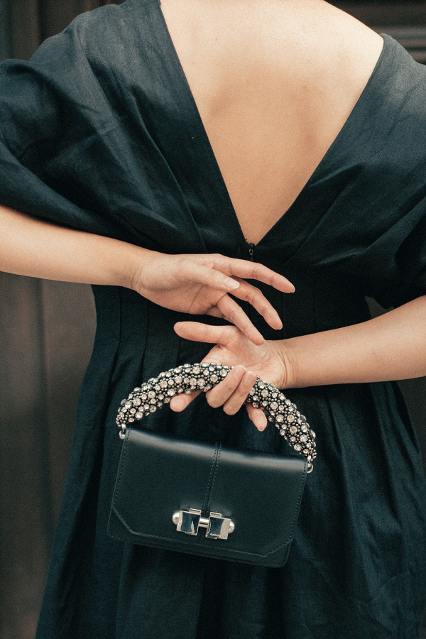 Carven Mini Full Joy Leather Bag + Subtle&Simple Linen Gown - All Black Everything Wedding Guest Attire / iHeartAlice.com - Travel & Lifestyleblog