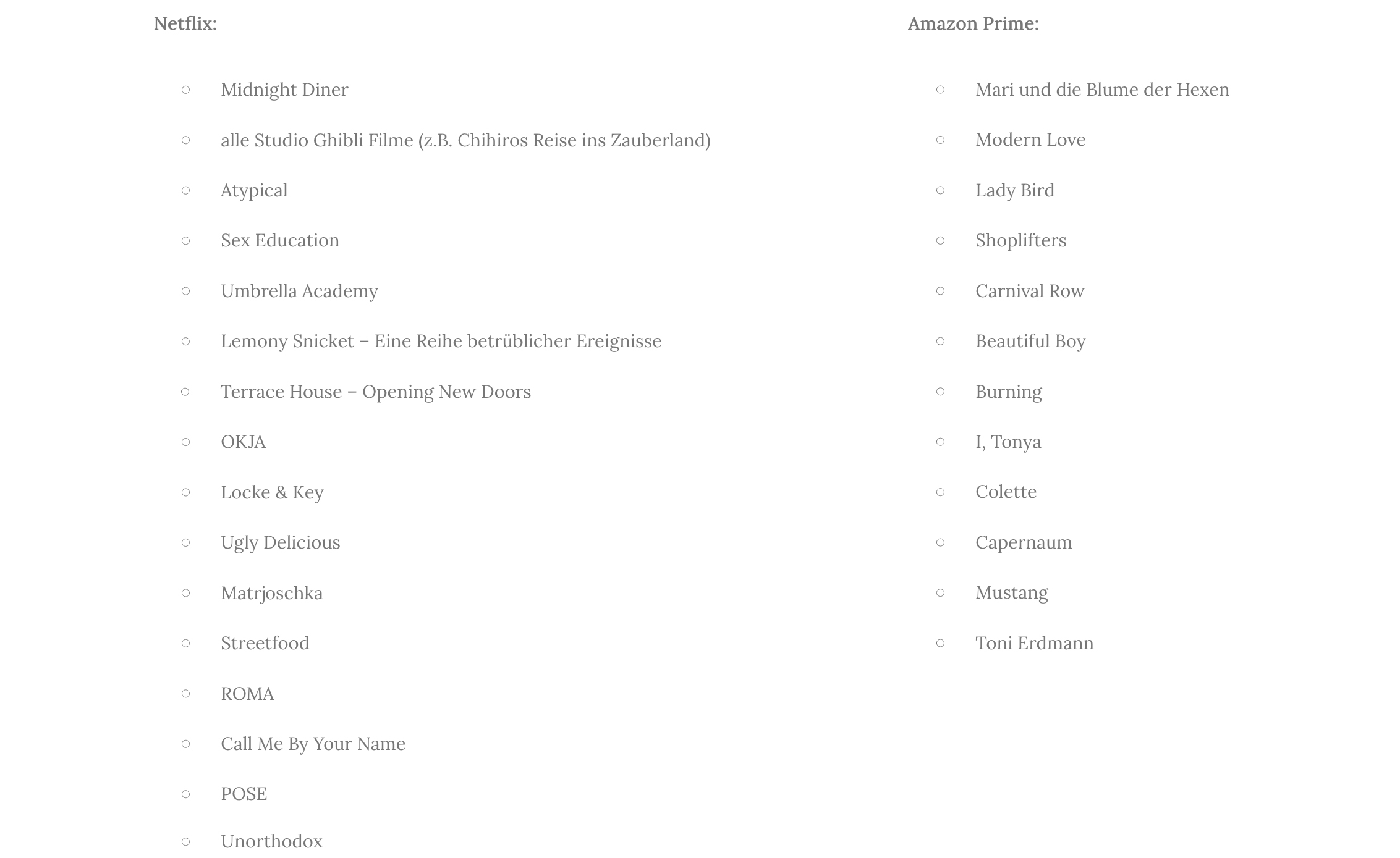 Mein Favourites on Netflix & Amazon Prime: Must Watch List