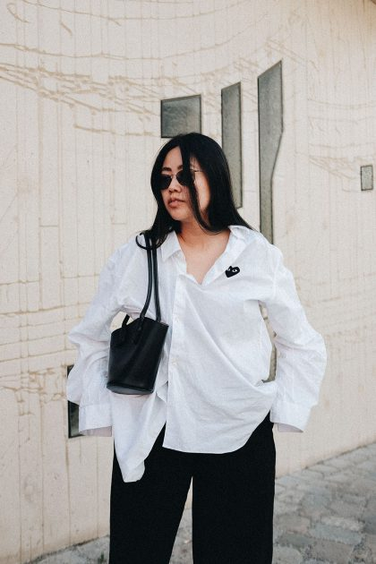 Bottega Veneta Basket Small Leather Tote Bag & Comme des Garçons PLAY Shirt / Easy Minimalist Summer Look by iHeartAlice.com – Travel, Lifestyle, Food & Fashionblog by Alice M. Huynh